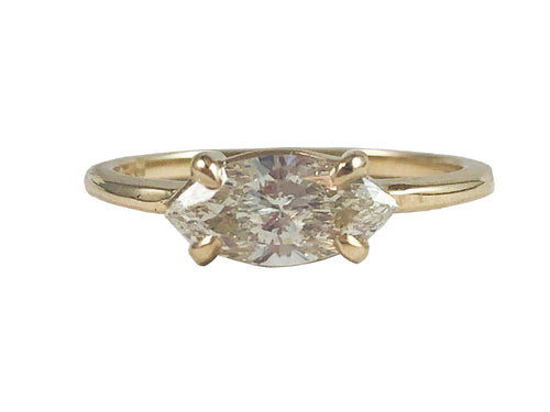 14K Yellow Gold and Marquise Diamond Solitaire Engagement Ring