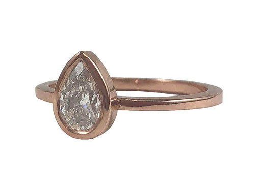 14K Rose Gold and Pear Diamond Solitaire Engagement Ring