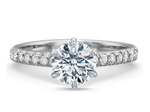 Palladium and Three-Stone Engagement Ring Mounting