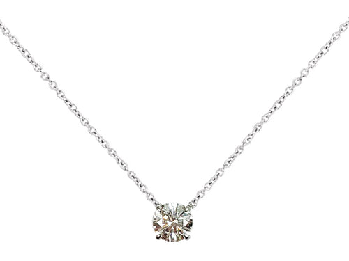 18K White Gold and Diamond Solitaire Necklace