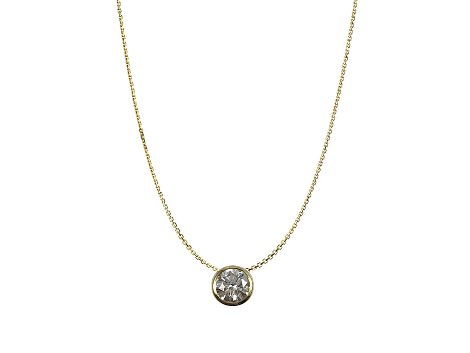 18K Yellow Gold and Bezel Diamond Necklace