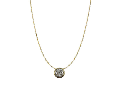 14K Yellow Gold, 14K White Gold and Prong Diamond Necklace
