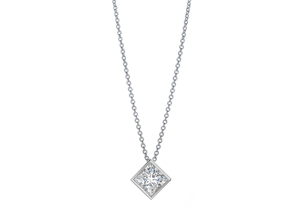 White Gold and Princess Diamond Necklace