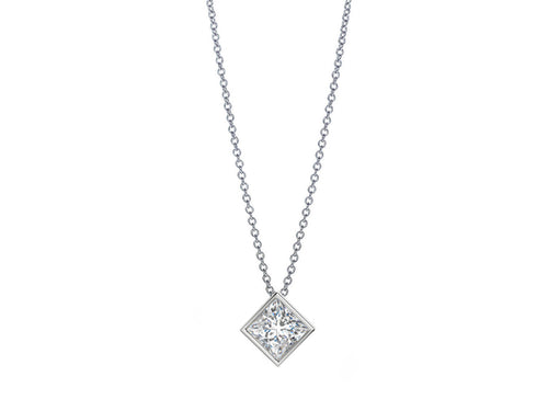 18K White Gold and Princess Diamond Necklace