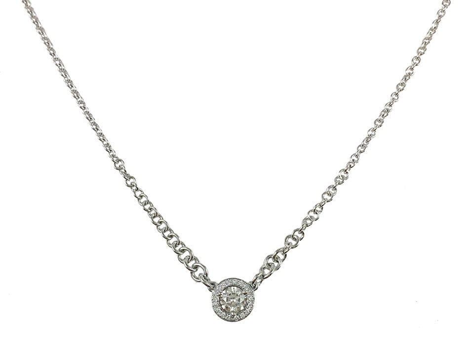 14K White Gold and Round Diamond Necklace