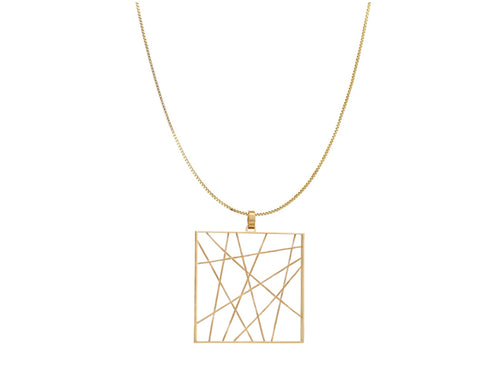 "18K Yellow Gold ""Enigma"" Pendant and 14K Yellow Gold Necklace"