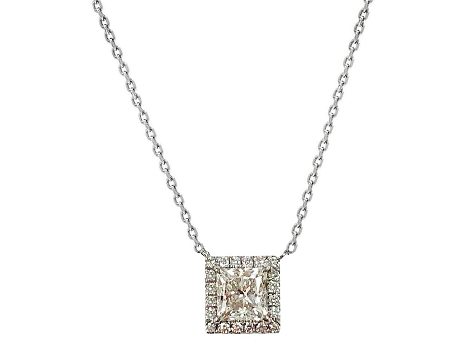 Princess Cut White Gold and Diamond Necklace