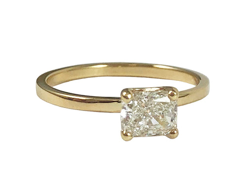 Radiant Cut Yellow Gold and Diamond Solitaire Engagement Ring in Washington DC