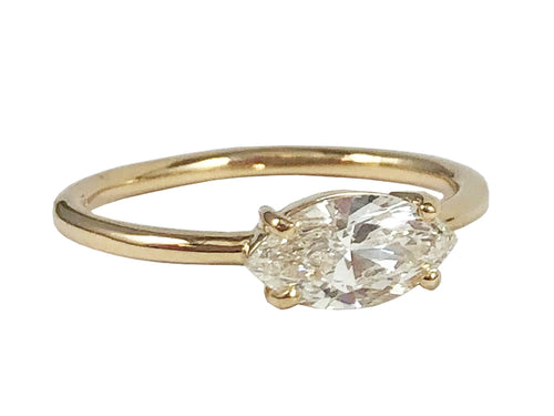 14K Yellow Gold and Diamond Solitaire Engagement Ring