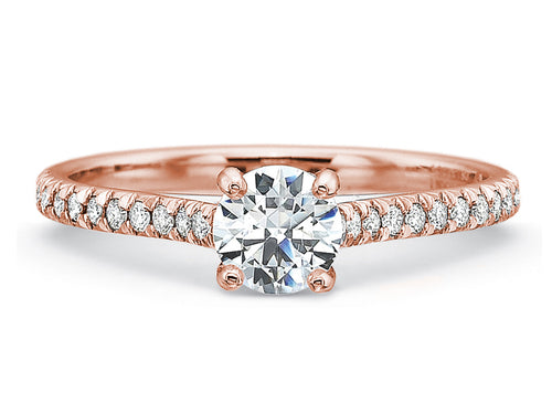 18K Rose Gold and Round Diamond Engagement Ring