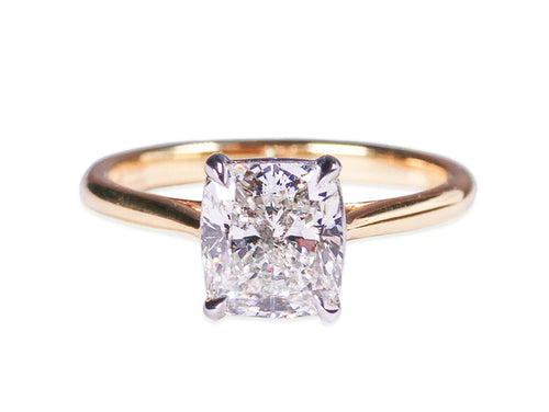 Cushion Diamond Solitaire Engagement Ring in Yellow Gold