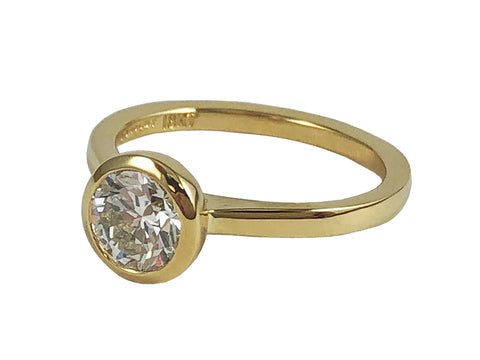 "18K Yellow Gold and Diamond Solitaire ""Cori"" Engagement Ring"