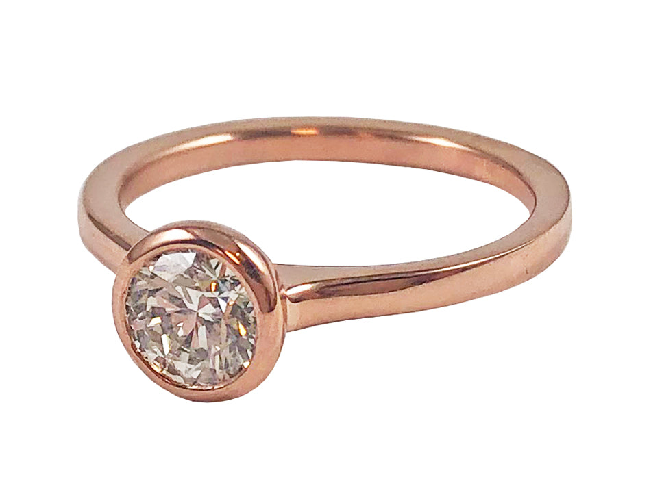 Rose Gold and Bezel Set Diamond Solitaire Engagement Ring in Washington DC