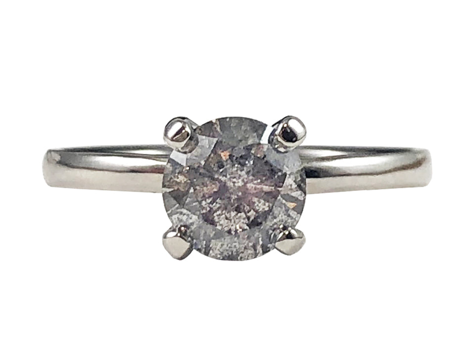 Salt & Pepper Diamond Solitaire Engagement Ring