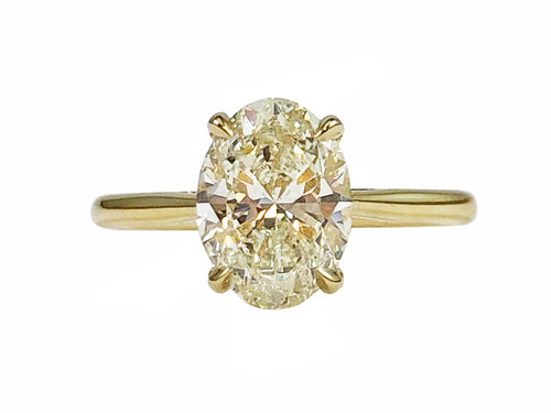 18K Yellow Gold and Oval Diamond Ring