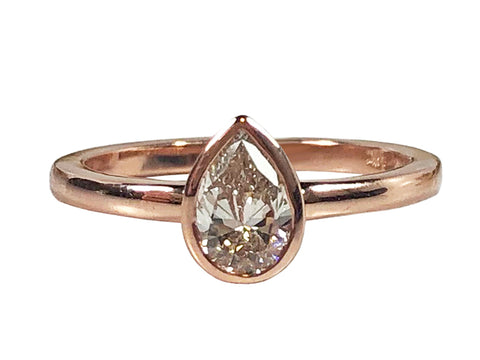 "18K Rosewood Gold and Diamond ""Princess"" Engagement Ring"