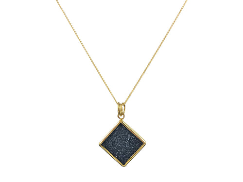 Black Onyx Druzy Pendant Necklace