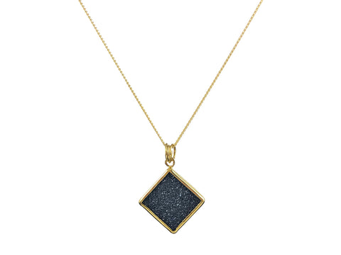 Gray Diamond Cube Necklace