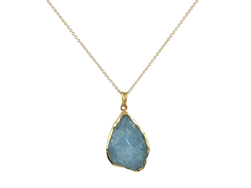 Rough Cut Aquamarine Pendant Necklace