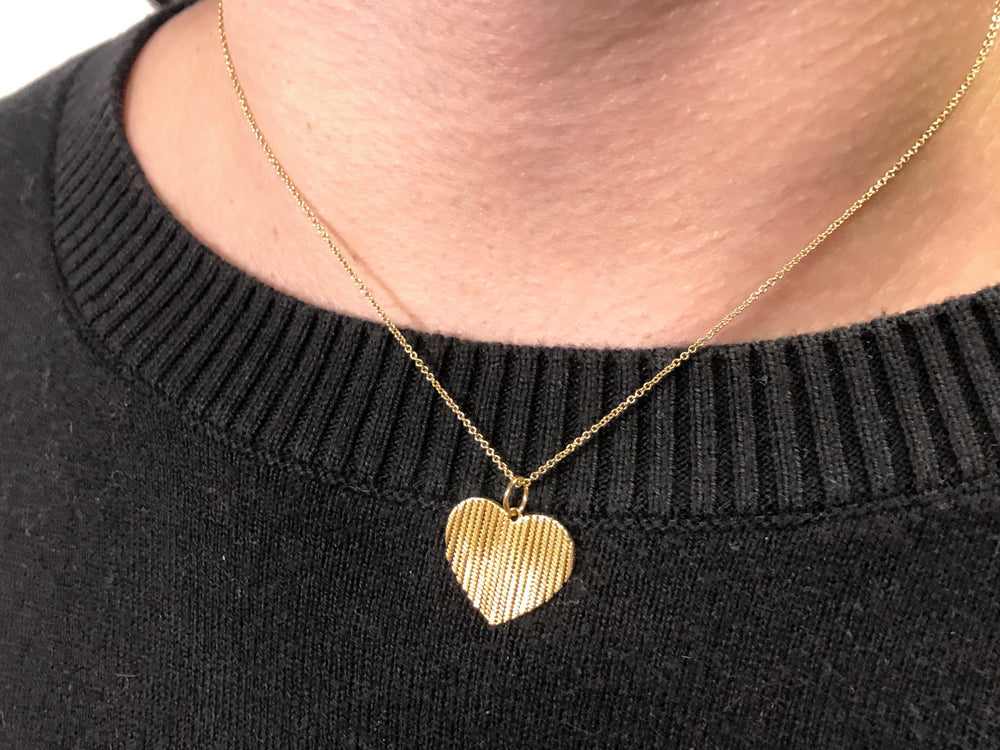Shimmering Fringe-Heart Pendant Necklace