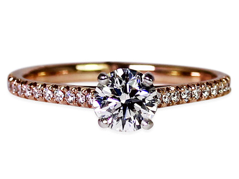 18K Rose Gold and Bar Set Diamond Engagement Ring
