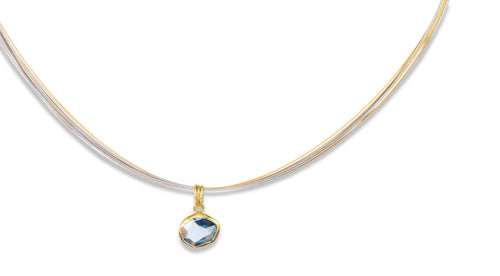 London Blue Topaz Pendant with Multi-Coil Necklace
