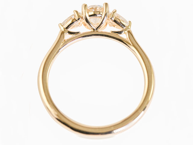 14K Yellow Gold and Round Diamond Engagement Ring