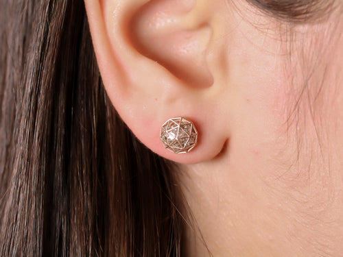 Floating Champagne Diamond Decagon Stud Earrings