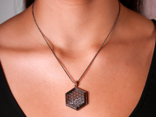 Floating White Sapphire and Diamond Hexagon Shaker Necklace