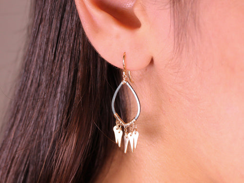 Fringe Drop Earrings in Yellow Gold and Blackened Silver