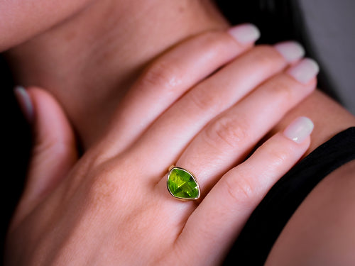 Bezel Set Faceted Peridot Ring