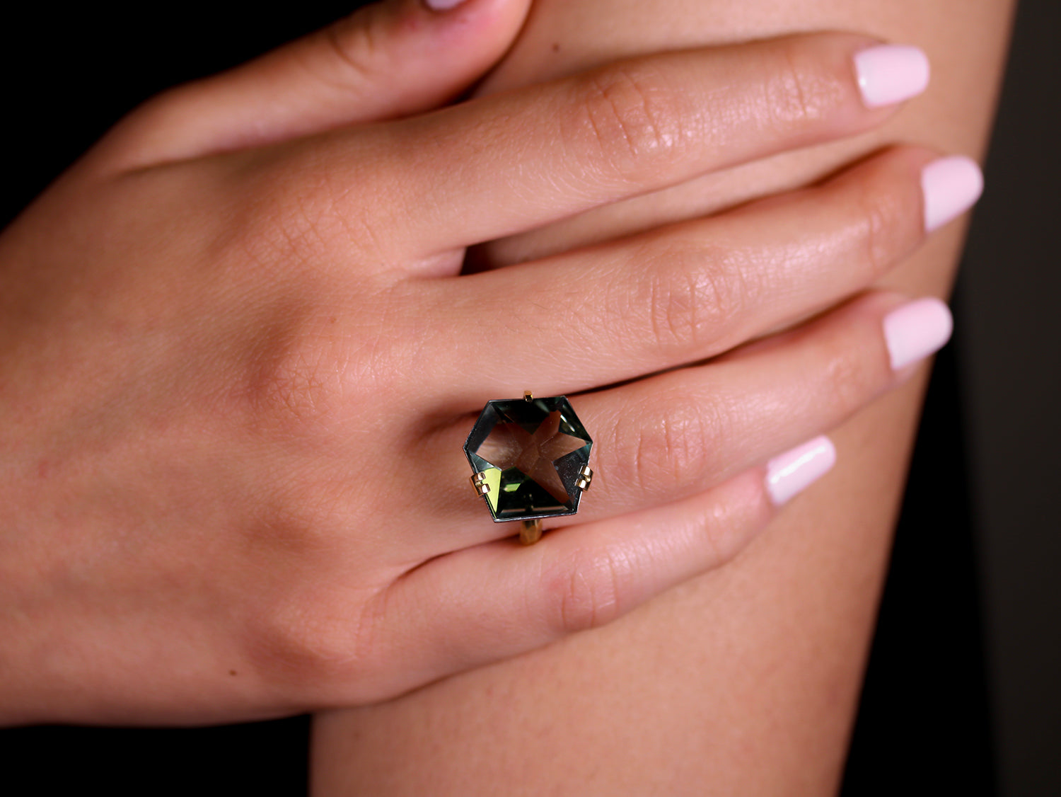 silver ring stone facet silver ring asymmetrical natural stones silver ring citrine and amethyst