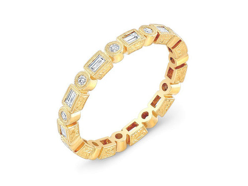 18K Yellow Gold and Bezel Diamond Wedding Band
