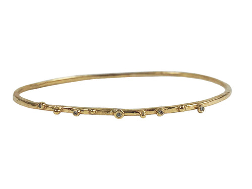 "14K Yellow Gold and Diamond Bangle ""Stackable"" Bracelet"