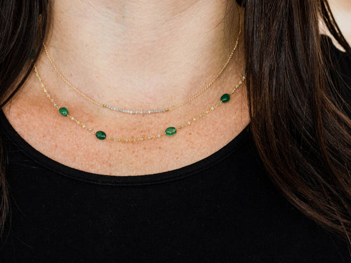 18K Yellow Gold, Emerald Beads And Gray Diamond Necklace