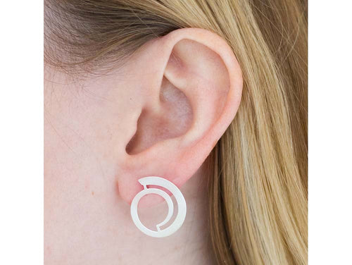 "Sterling Silver ""Wave Circle"" Earrings"