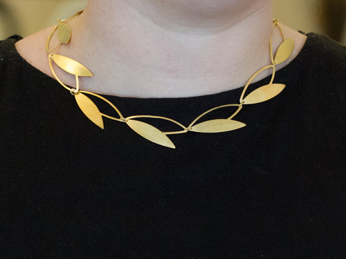 "Gold Plated Sterling Silver ""Open Leaf"" Necklace"
