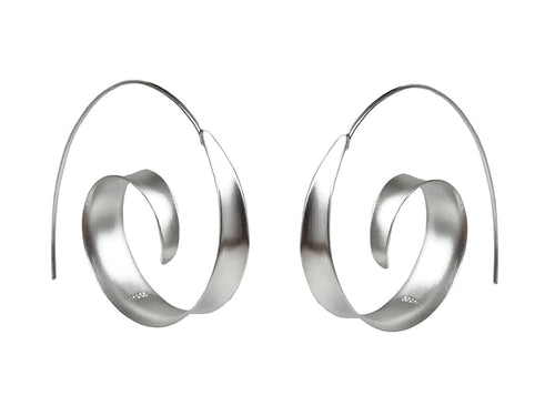 "Sterling Silver ""Hoop Swirl"" Earrings"