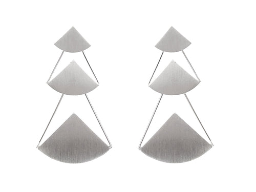 "Sterling Silver ""Tri Mod"" Earrings"