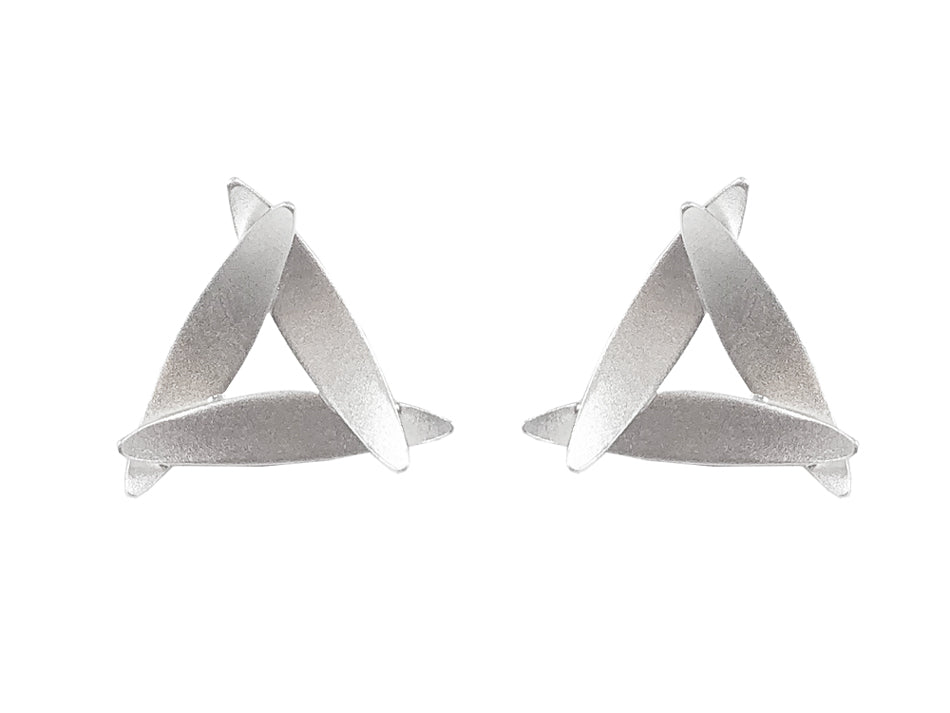 "Sterling Silver ""3 Leaves"" Stud Earrings"