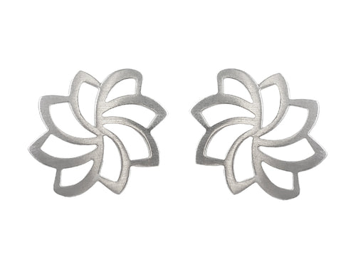 "Sterling Silver ""Lotus Flower"" Earrings"