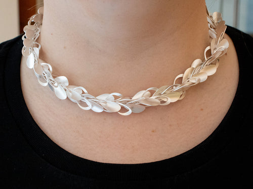 "Sterling Silver ""70's Wallpaper Cluster"" Necklace"