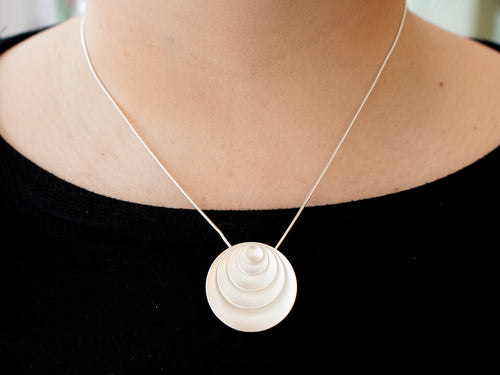 "Sterling Silver ""Forever Circles"" Pendant Necklace"