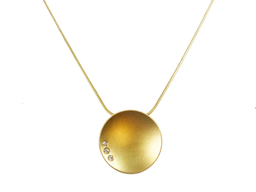 Three-Diamond Disc Pendant Necklace