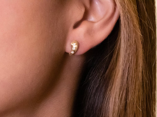 Petite Diamond Stud Earrings in Rose Gold