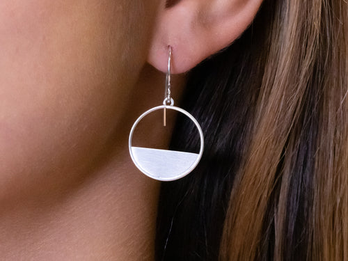 "Silver ""Half Circle"" Earrings"