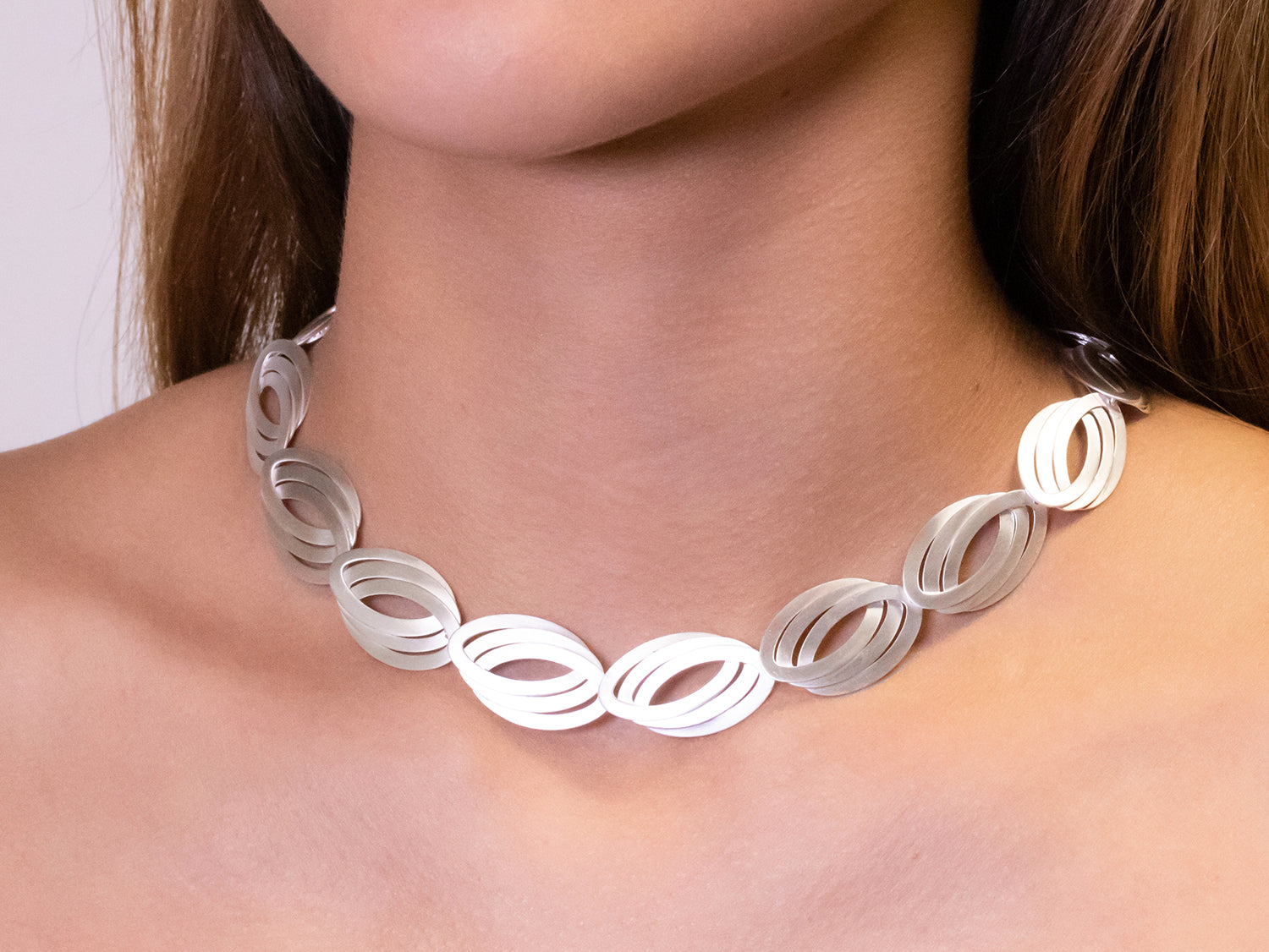 "Silver ""Triple Oval"" Necklace"