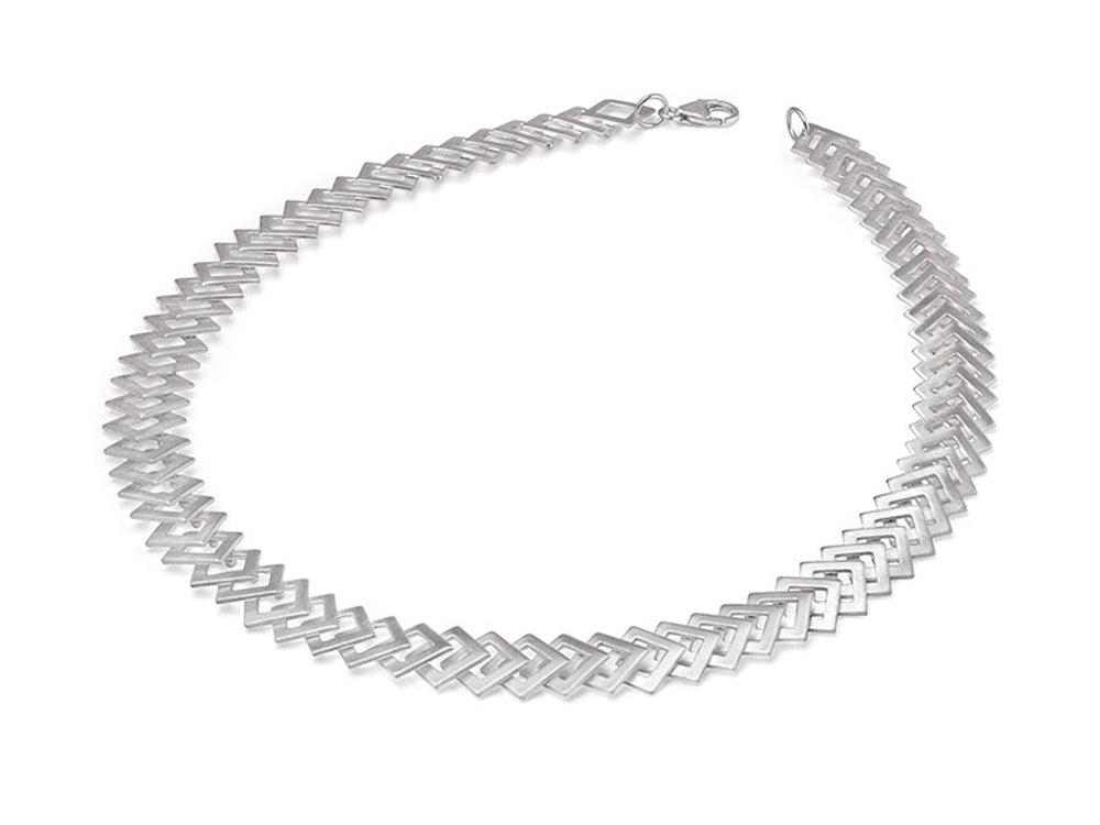 "Silver ""Diamond-Shapes"" Necklace"