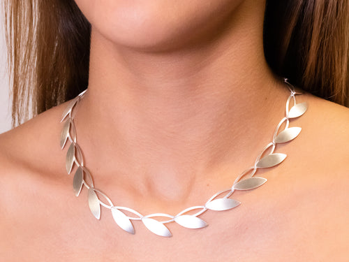 "Silver ""Open Leaf"" Necklace"