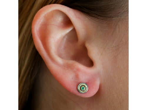 Oxidized Sterling Silver, 18K Yellow Gold and Emerald Stud Earrings